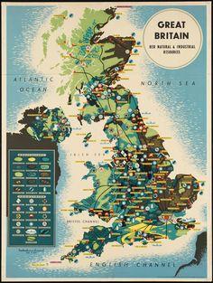 Great Britain Vintage Map Poster - Old vintage map poster promoting location of natural resources in England. Fantastic print for home, bar, restaurant or office decor. Size: x Gender: unisex. Material: Value Poster Paper (Matte). Vintage Maps, Vintage Travel Posters, Antique Maps, Decoupage Vintage, Map Of Great Britain, Britain Map, British Travel, Poster Art, Print Poster