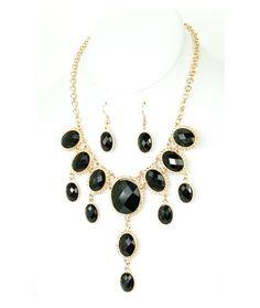 Black Stone Bib Necklace. Starting at $1 on Tophatter.com!