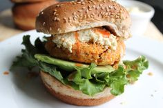 """Buffalo quinoa chickpea burger with """"blue cheese"""" dressing"""