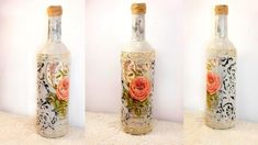 50 Beautiful Wine Bottle Crafts to Upcycle Your Old Wine Bottles By upcycling your old wine bottles into candelabras, wind chimes, and all sorts of crafts, you save tons by not purchasing store-bought decor. Diy Bottle, Wine Bottle Crafts, Bottle Art, Beer Bottle, Vodka Bottle, Diy Decoupage Bottles, Decoupage Glass, Diy And Crafts Sewing, Crafts To Sell