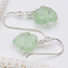 seaglass earrings - pale green  https://www.suegrayjewelry.com/