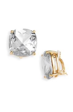Kate Spade New York Large Faceted Clip Earrings Available At Nordstrom Diamond Studs