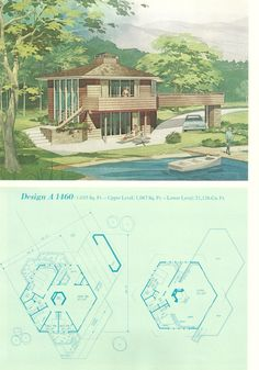 Vintage Planes Vintage Vacation Homes, Mid century vacation homes, vacation house plans Modern Floor Plans, Modern House Plans, House Floor Plans, Architecture Plan, Amazing Architecture, Hexagon House, Vintage House Plans, House Blueprints, Mid Century House