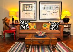 eclectic living room by Valerie McCaskill Dickman. i need this woman to come decorate my house. i LOVE her style! so fun, colorful...love it ALL!