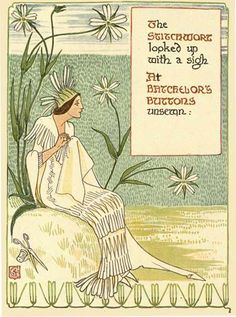 The Stitchwort looked up with a sigh at Batchelors Buttons unsewn: Illustration from A Floral Fantasy in an Old English Garden by Walter Crane (1899). http://www.gutenberg.org/files/24485/24485-h/24485-h.htm