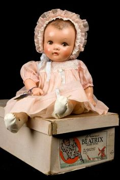 """18"""" composition Princess Beatrix baby doll with box, based on the young crown princess of the Netherlands, United States, 1938, by Ideal Toy Company."""