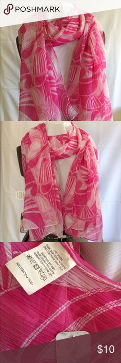 Lightweight scarf from Germany Pink and white swirls, tag attached. See pics for best description. Never used but just couldn't part with it until now. Das Original Accessories Scarves & Wraps