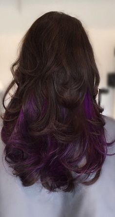 Purple highlights #long hair                                                                                                                                                      More