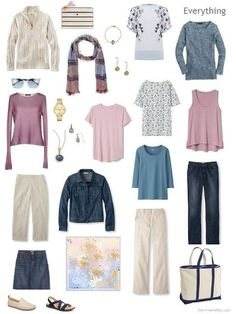 Can I Pack Denim and Khaki and still look Pretty? What about including Mauve Pink and Dark Pastel Blue Accents? - The Vivienne Files a travel capsule wardrobe in denim, khaki, soft mauve pink and dark pastel blue Capsule Outfits, Fashion Capsule, Capsule Wardrobe, Travel Wardrobe, Summer Wardrobe, Soft Summer Color Palette, Look 2018, The Vivienne, Travel Clothes Women