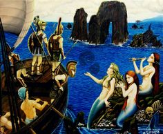 $7000 PESOS MEXICANOS MAS GASTOS DE ENVIO, MERMAIDS, GREEKS, SEA, BOAT, el canto de las sirenas, sirenas, griegos, arte mexico, oil paint by Jorge D. Espinosa