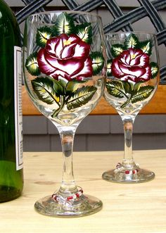 I just listed Wine Glasses With A Bright Red Rose by Paint It Pretty on The CraftStar @TheCraftStar #uniquegifts  #handpaintedwineglasses #redrosewineglasses
