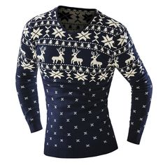 Find More Pullovers Information about 2016 Spring Autumn Men Pullover Christmas Style Deer Pattern Male Sweater Jumper V Neck Slim Fit Knitted Men Sweaters Knitwear,High Quality sweater embroidery,China sweater necklace Suppliers, Cheap knitwear fabrics from Women Dress Boutique on Aliexpress.com