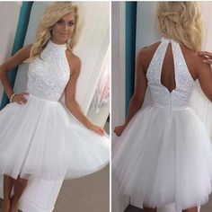 9e2ba86991 2016 New Cheap Cocktail Dresses White High Neck Short Homecoming Dress  Crystal Beaded Keyhole Back Knee