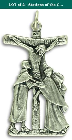 """LOT of 2 - Stations of the Cross Pieta Crucifix 1 5/8"""" Pendant or Rosary Crucifix Catholic Made in Italy. Package of 2 of these large crucifixes with jump rings included for one low price! This beautiful Stations of the Cross Pieta cut-out crucifix is die-cast in Italy with a beautiful silver oxidized finish which gives a richly detailed, 3-dimensional finishing touch as only the Italians have perfected."""
