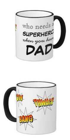 Superhero Dad Mug by {PieceofLoveDesigns} #fathersday #forhim #mug #superhero #dad