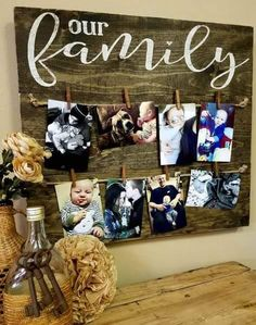 x 8 mini clothespins included Finished in dark stain, cream or turquoise lettering & lightly distressed Handmade in Eau Claire, Wooden Crafts, Diy And Crafts, Homemade Crafts, Wood Board Crafts, Wood Boards, Motif Mandala Crochet, Family Photo Frames, Family Photo Displays, Picture Frames