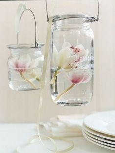 Flowers in hanging Mason Jars