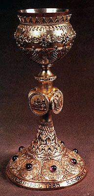 Chalice . In the sacrament of the communion the Armenian Church uses wine, without mixing it with water. This tradition is specific to the Armenian Church.