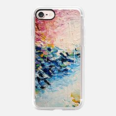 iPhone 7 Case PARADISE DREAMING - Lovely Tropical Island Dreams Whimsical Colorful Bold Rainbow Pastel Abstract Lagoon Nature White Pink Blue Painting