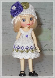 Amelia Thimble Dolls Sleeveless White with Purple Flowers Dress and Hat by JCsTinyTreasures on Etsy