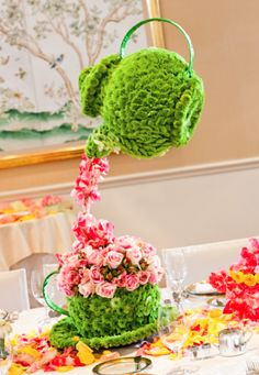 Sonia Sharma Events table decorations, flower studded teapot poring
