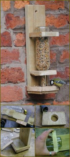 wood and old glass bottle bird feeder