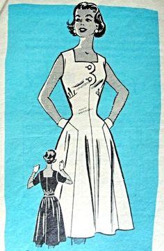1950s Dress Pattern Anne Adams 9177 Figure Flattering Summer Dress Bust 38 Vintage Sewing Pattern FACTORY FOLDED