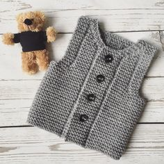 Gray Baby Vest Knitting pattern by Ana Valen : Gray Baby Vest Knitting For Kids, Baby Knitting Patterns, Baby Patterns, Hand Knitting, Vintage Knitting, Knitting Needles, Baby Boy Vest, Toddler Vest, Baby Cardigan
