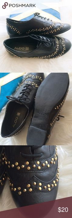 Aldo leather black gold studded oxfords 7.5 Pre-loved Aldo black leather studded Oxford, lots of life still left, just a tiny bit of light fraying as pictured and wear on bottoms. All studs are in tact. Aldo Shoes Flats & Loafers