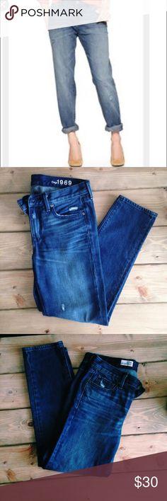 "Gap Boyfriend Jeans GAP 1969 ""sexy boyfriend jean"" size 27/4. Back pockets with snap buttons. Distressed throughout. In excellent condition. GAP Jeans Boyfriend"