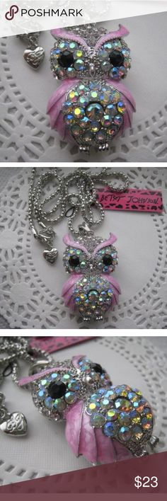 Betsy Johnson Enamel Crystal Owl Pendant Necklace Beautiful Betsy Johnson Pink Enamel and Crystal Pendant Necklace Betsey Johnson Jewelry Necklaces