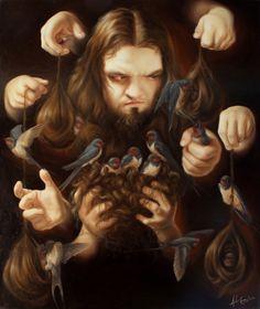 "Sin título ""Padre p�jaro 80cm x 95cm"" Artista: José Luis López Galván"