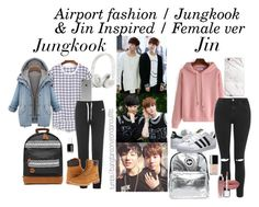 """Jin & Jungkook inspired airport fashion"" by bangtanoutfits ❤ liked on Polyvore featuring Topshop, NIKE, MiPac, Hype, adidas Originals, Timberland, Beats by Dr. Dre, Incase, Essie and Chanel"