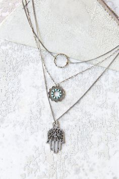Hamsa Charm Triple-Layer Necklace - Urban Outfitters