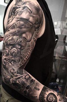 Top popular tattoo designs for men 2019 - top popular tattoo designs . - TOP popular tattoo designs for men 2019 – TOP popular tattoo designs for men 2019 – - Left Arm Tattoos, Full Sleeve Tattoos, Tattoo Sleeve Designs, Arm Tattoos For Guys, Tattoo Designs Men, Angel Sleeve Tattoo, Zeus Tattoo, Poseidon Tattoo, Statue Tattoo