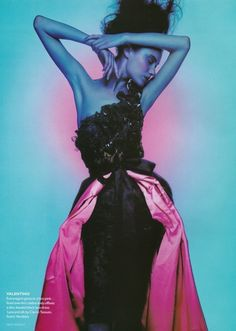 Couture in ColourVogue UK, October 1995Photographer: Nick KnightModel: Shalom HarlowValentino, Fall 1995 Couture