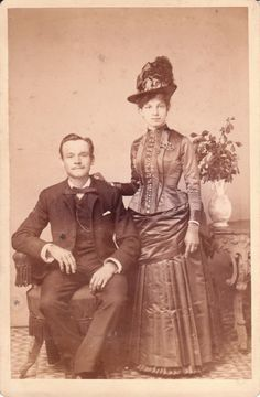 Fashionable handsome couple from the late 1800''s