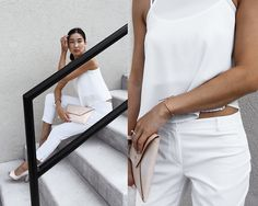 Get this look: http://lb.nu/look/7778442  More looks by Kristina: http://lb.nu/dayinmydreams  Items in this look:  The Leather Collective Clutch, Omega Timepiece, Tjmaxx White Ensemble   #chic #classic #minimal #firstworldproblems