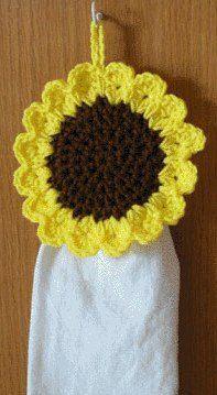 kitchen towel crochet pattern toppers crochet sunflower towel topper will keep your kitchen towel handy Crochet Towel Holders, Crochet Dish Towels, Crochet Towel Topper, Crochet Kitchen Towels, Crochet Coaster Pattern, Crochet Flower Patterns, Crochet Flowers, Knitting Patterns, Knitting Tutorials