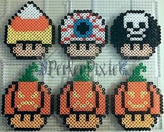 Here are some halloween themed Hershey kisses. With Halloween on it's way, I figured I'd make a few spooky themed perlers. Fuse Bead Patterns, Perler Patterns, Beading Patterns, Perler Bead Templates, Diy Perler Beads, Halloween Beads, Halloween Patterns, Holidays Halloween, Perler Bead Mario