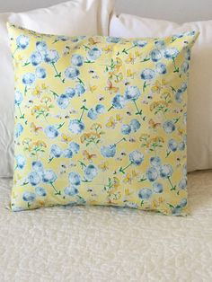 Yellow - Flowers- Pillow Cover - Bees - Swappillow Covers - Gift - Envelope Closure - Decorative Pillow Cover - 16x16 - Throw Pillow by KathyRyanDesigns on Etsy