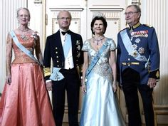 europeanmonarchies:  Queen Margrethe, King Carl Gustaf and Queen Silvia of Sweden, Prince Henrik