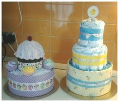 Diaper cake cupcake style with cupcake hat and big diaper cake ducky style