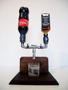 Handmade Wooden Liquor Dispenser Alcohol by SteamVintageWorks Hey Mine would be Jack & Dr Pepper! Alcohol Dispenser, Drink Dispenser, Whiskey Dispenser, Handmade Home Decor, Handmade Wooden, Ideias Diy, Tech Gifts, Wine Rack, Wood Projects