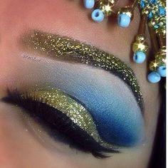 Egyptan goddess gold blue makeup