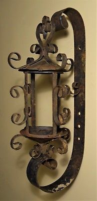 Antique Wrought Iron Mission Gothic Wall Sconce Candle Holder Arts