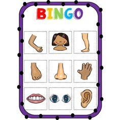 Human Body Activities, Pre K Activities, English Activities, Infant Activities, Senses Preschool, Body Preschool, Body Parts For Kids, Human Body Parts, Bingo