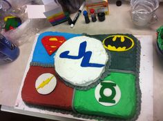 Homemade justice league cake