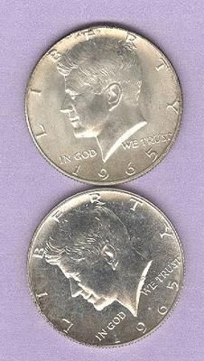 #Pinterest #eBay #Auction 1965 Kennedy Half Dollars Silver Clad Lot of 2 Coins 1965 & 1965 SMS JFK John F. Kennedy