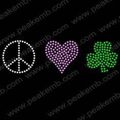 Peace Love Irish Shamrock Rhinestone Heat Transfer Motifs